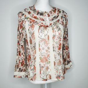 Anthropologie Feather Bone Crochet Floral Blouse